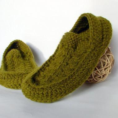 Men's Knit Crochet Socks/Slippers with Irish Traditional Aran Knitting Motifs, Hand Knitted Home Shoes
