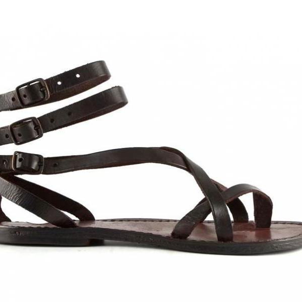 Women sandals in Dark Brown Leather..